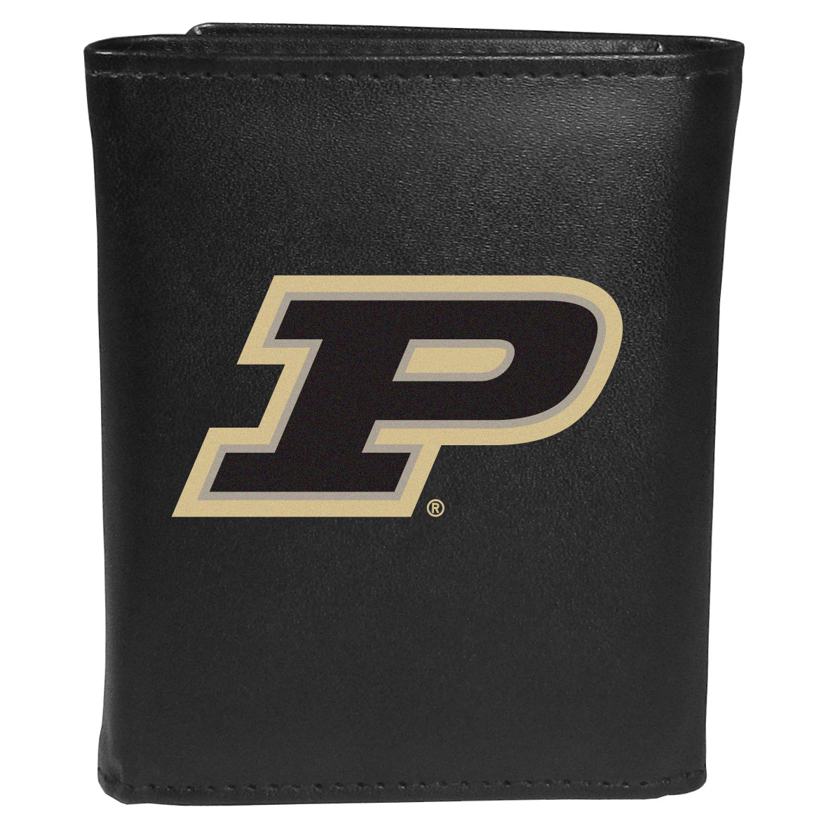 Purdue Boilermakers Leather Tri-fold Wallet, Large Logo - Our classic fine leather tri-fold wallet is meticulously crafted with genuine leather that will age beautifully so you will have a quality wallet for years to come. This is fan apparel at its finest. The wallet is packed with organizational  features; lots of credit card slots, large billfold pocket, and a window ID slot. The front of the wallet features an extra large Purdue Boilermakers printed logo.