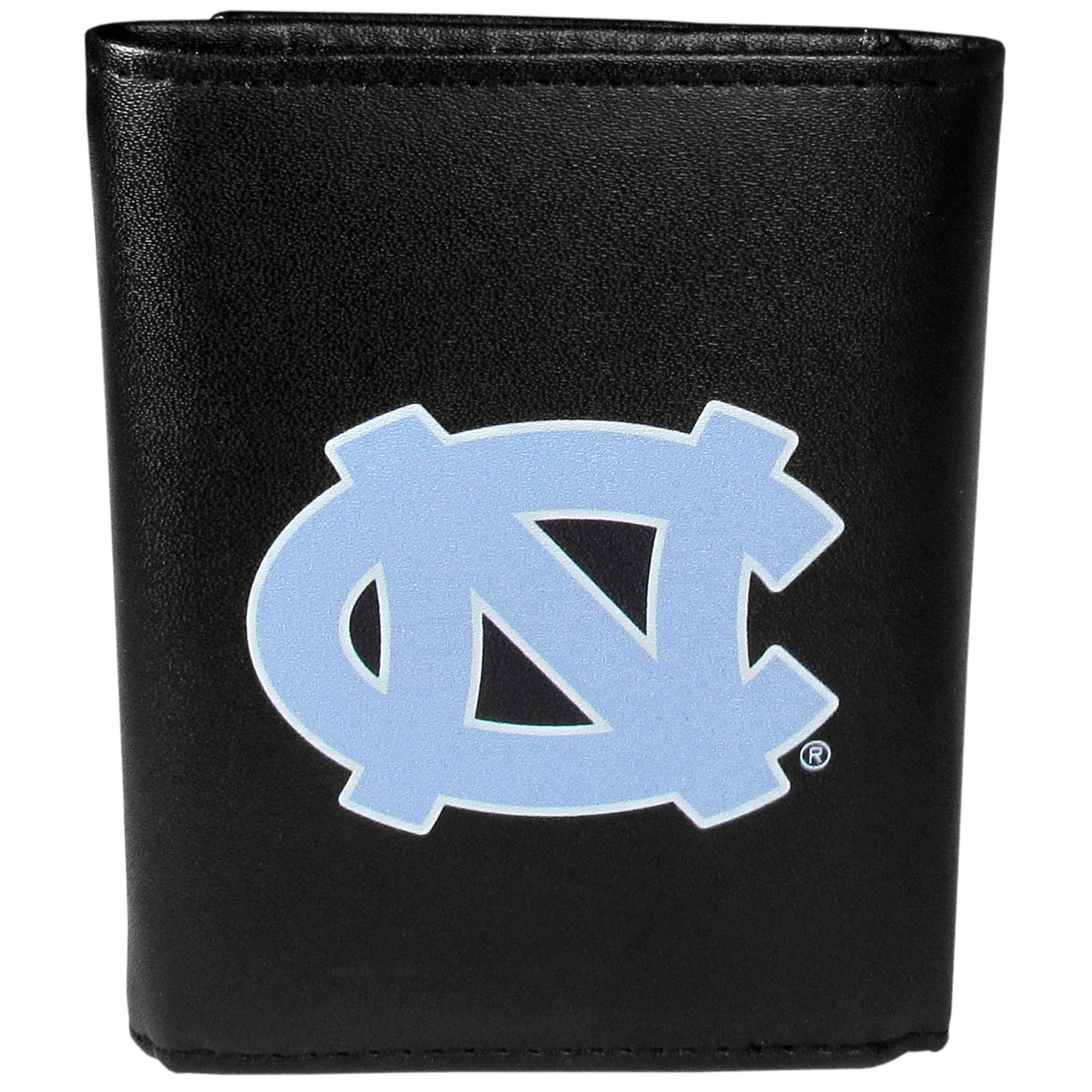 N. Carolina Tar Heels Leather Tri-fold Wallet, Large Logo - Our classic fine leather tri-fold wallet is meticulously crafted with genuine leather that will age beautifully so you will have a quality wallet for years to come. This is fan apparel at its finest. The wallet is packed with organizational  features; lots of credit card slots, large billfold pocket, and a window ID slot. The front of the wallet features an extra large N. Carolina Tar Heels printed logo.
