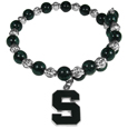 Michigan St. Spartans Bead Memory Wire Bracelet