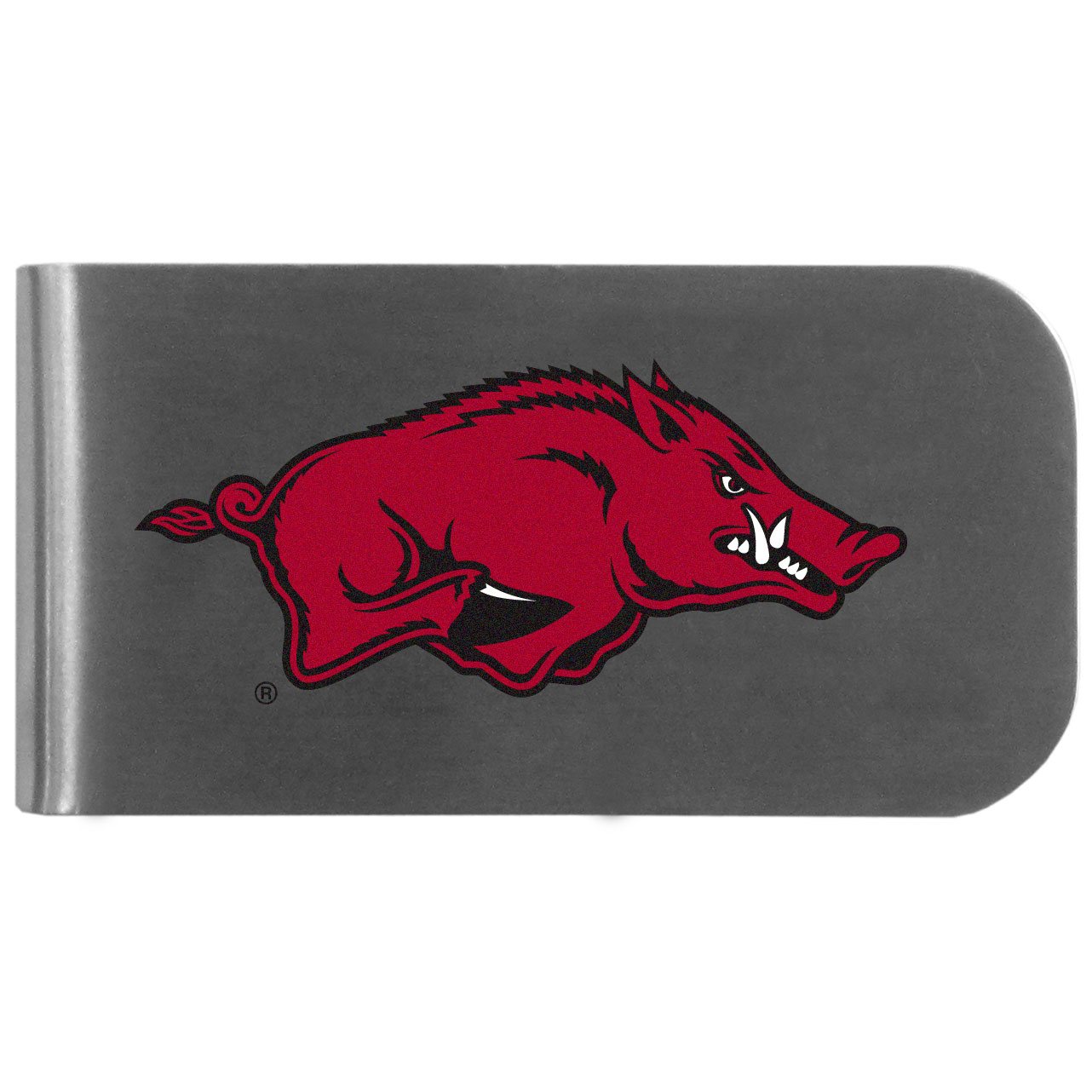 Arkansas Razorbacks Logo Bottle Opener Money Clip - This unique money clip features a classic, brushed-metal finish with a handy bottle opener feature on the back. The clip has the Arkansas Razorbacks logo expertly printed on the front of the clip.
