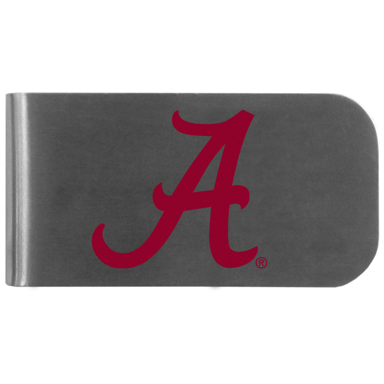 Alabama Crimson Tide Logo Bottle Opener Money Clip - This unique money clip features a classic, brushed-metal finish with a handy bottle opener feature on the back. The clip has the Alabama Crimson Tide logo expertly printed on the front of the clip.