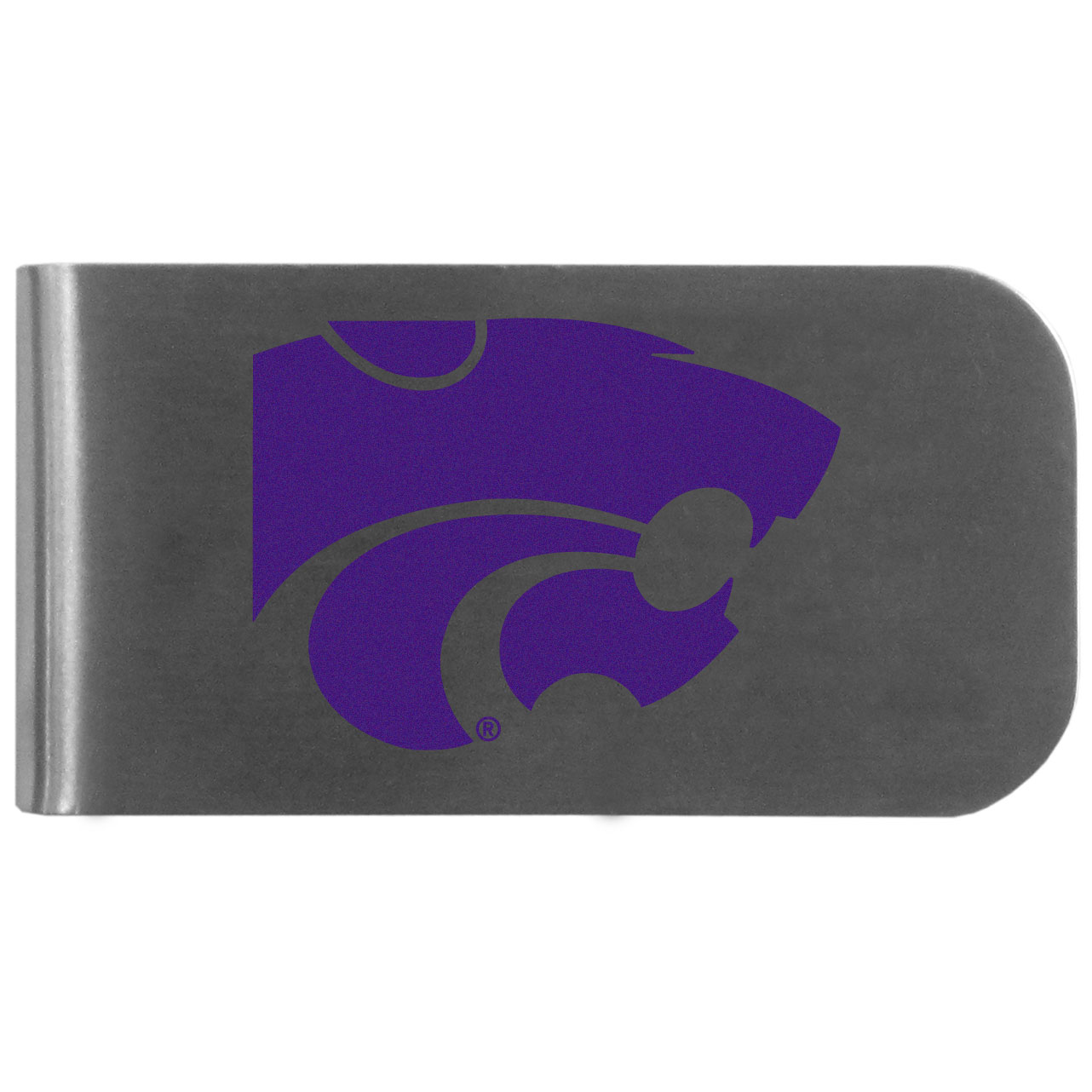 Kansas St. Wildcats Logo Bottle Opener Money Clip - This unique money clip features a classic, brushed-metal finish with a handy bottle opener feature on the back. The clip has the Kansas St. Wildcats logo expertly printed on the front of the clip.