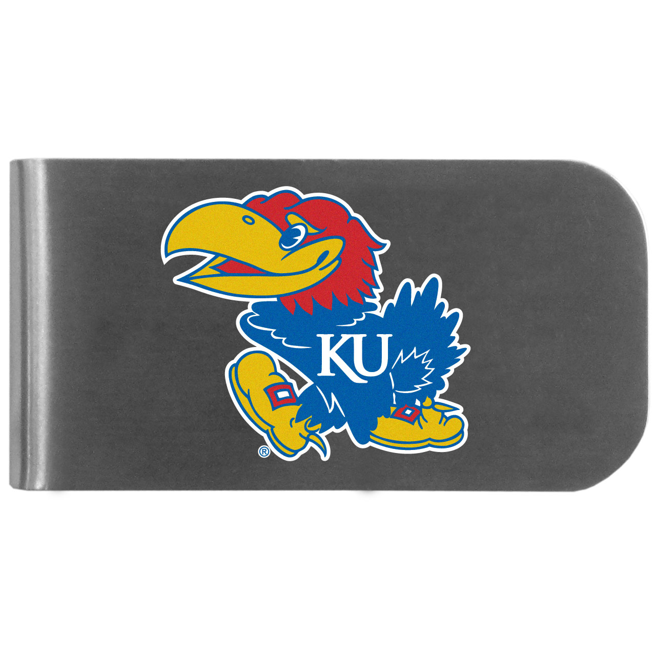 Kansas Jayhawks Logo Bottle Opener Money Clip - This unique money clip features a classic, brushed-metal finish with a handy bottle opener feature on the back. The clip has the Kansas Jayhawks logo expertly printed on the front of the clip.