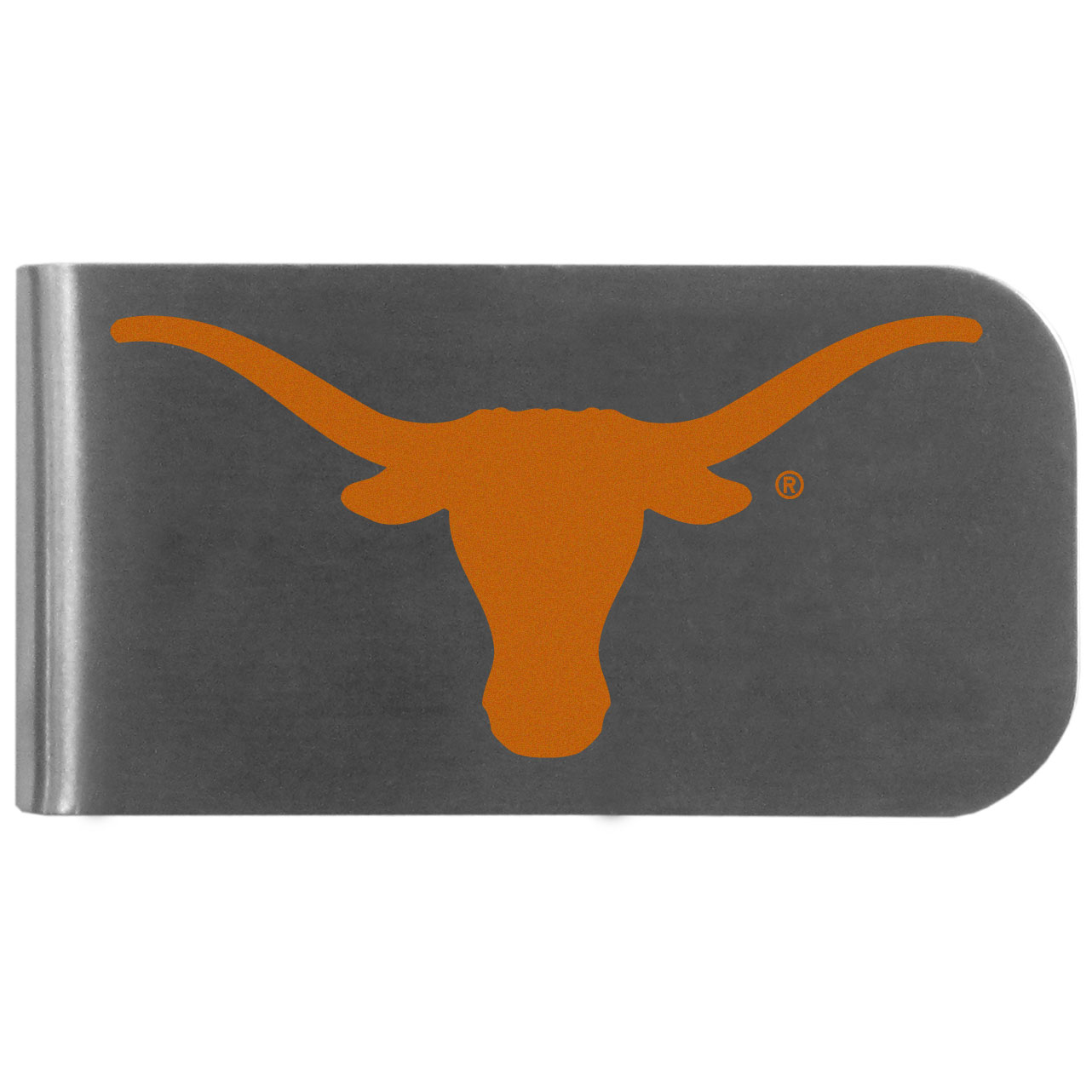 Texas Longhorns Logo Bottle Opener Money Clip - This unique money clip features a classic, brushed-metal finish with a handy bottle opener feature on the back. The clip has the Texas Longhorns logo expertly printed on the front of the clip.