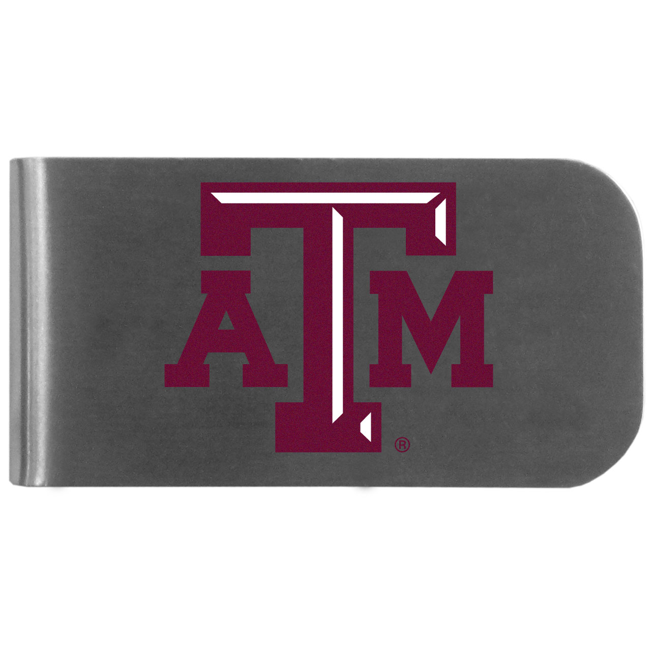 Texas A & M Aggies Logo Bottle Opener Money Clip - This unique money clip features a classic, brushed-metal finish with a handy bottle opener feature on the back. The clip has the Texas A & M Aggies logo expertly printed on the front of the clip.