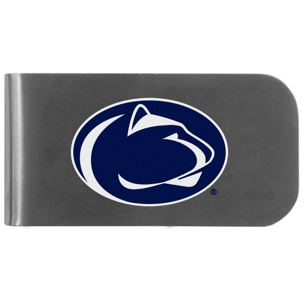 Penn St. Nittany Lions Logo Bottle Opener Money Clip - This unique money clip features a classic, brushed-metal finish with a handy bottle opener feature on the back. The clip has the Penn St. Nittany Lions logo expertly printed on the front of the clip.