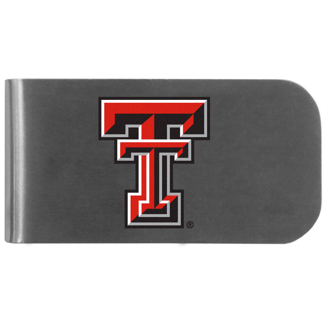 Texas Tech Raiders Logo Bottle Opener Money Clip - This unique money clip features a classic, brushed-metal finish with a handy bottle opener feature on the back. The clip has the Texas Tech Raiders logo expertly printed on the front of the clip.