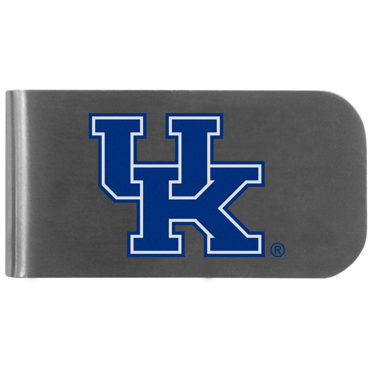 Kentucky Wildcats Logo Bottle Opener Money Clip - This unique money clip features a classic, brushed-metal finish with a handy bottle opener feature on the back. The clip has the Kentucky Wildcats logo expertly printed on the front of the clip.