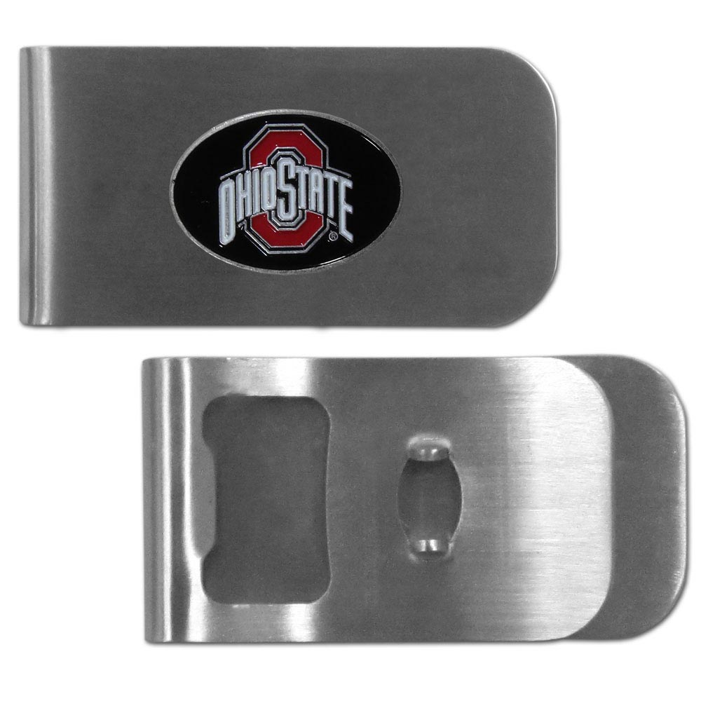 Ohio St. Buckeyes Bottle Opener Money Clip - This unique clip features a classic, brushed-metal finish with a handy bottle opener feature on the back. The clip has a metal Ohio St. Buckeyes emblem with expertly enameled detail