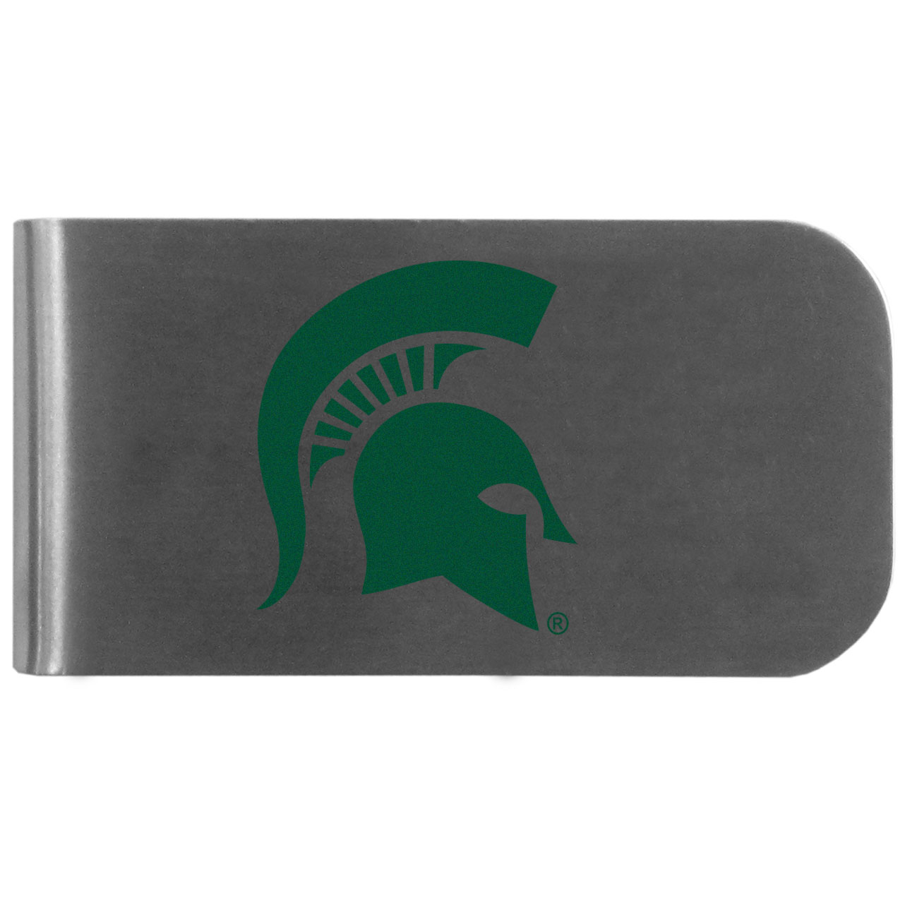 Michigan St. Spartans Logo Bottle Opener Money Clip - This unique money clip features a classic, brushed-metal finish with a handy bottle opener feature on the back. The clip has the Michigan St. Spartans logo expertly printed on the front of the clip.
