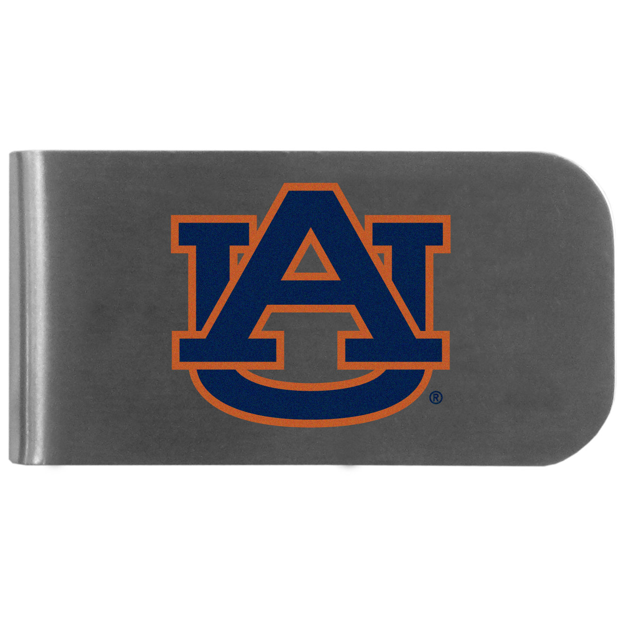 Auburn Tigers Logo Bottle Opener Money Clip - This unique money clip features a classic, brushed-metal finish with a handy bottle opener feature on the back. The clip has the Auburn Tigers logo expertly printed on the front of the clip.