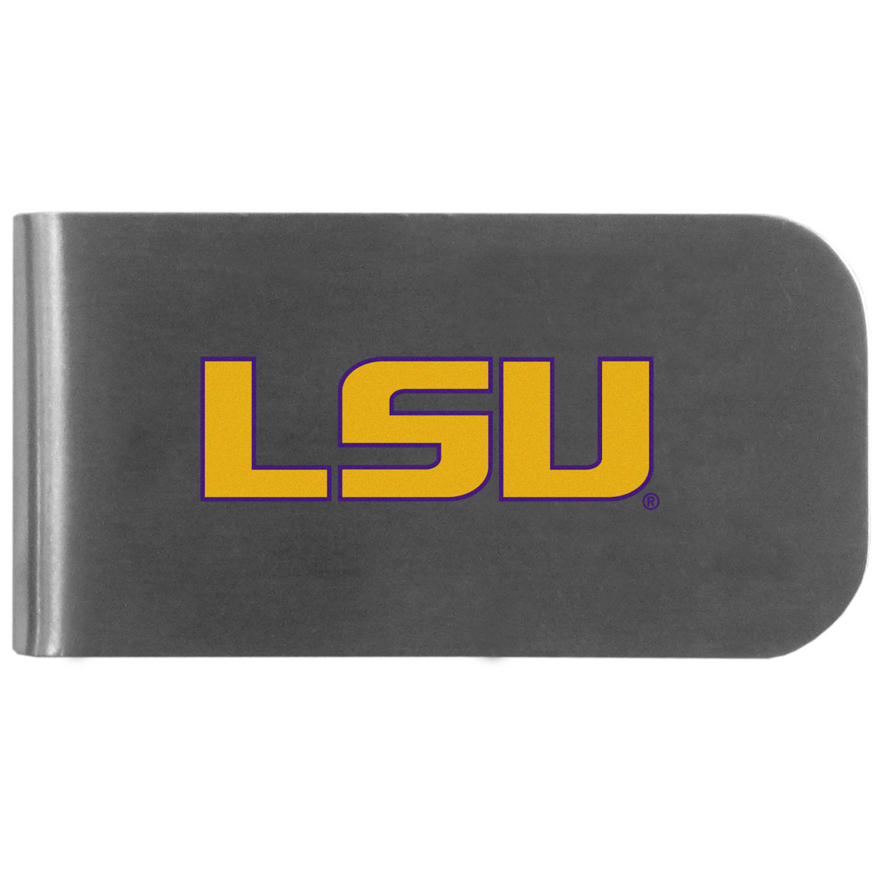 LSU Tigers Logo Bottle Opener Money Clip - This unique money clip features a classic, brushed-metal finish with a handy bottle opener feature on the back. The clip has the LSU Tigers logo expertly printed on the front of the clip.