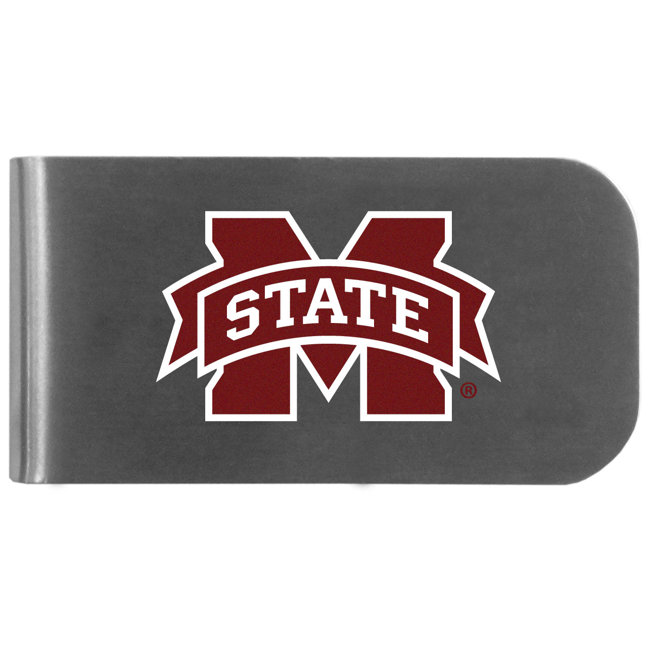 Mississippi St. Bulldogs Logo Bottle Opener Money Clip - This unique money clip features a classic, brushed-metal finish with a handy bottle opener feature on the back. The clip has the Mississippi St. Bulldogs logo expertly printed on the front of the clip.