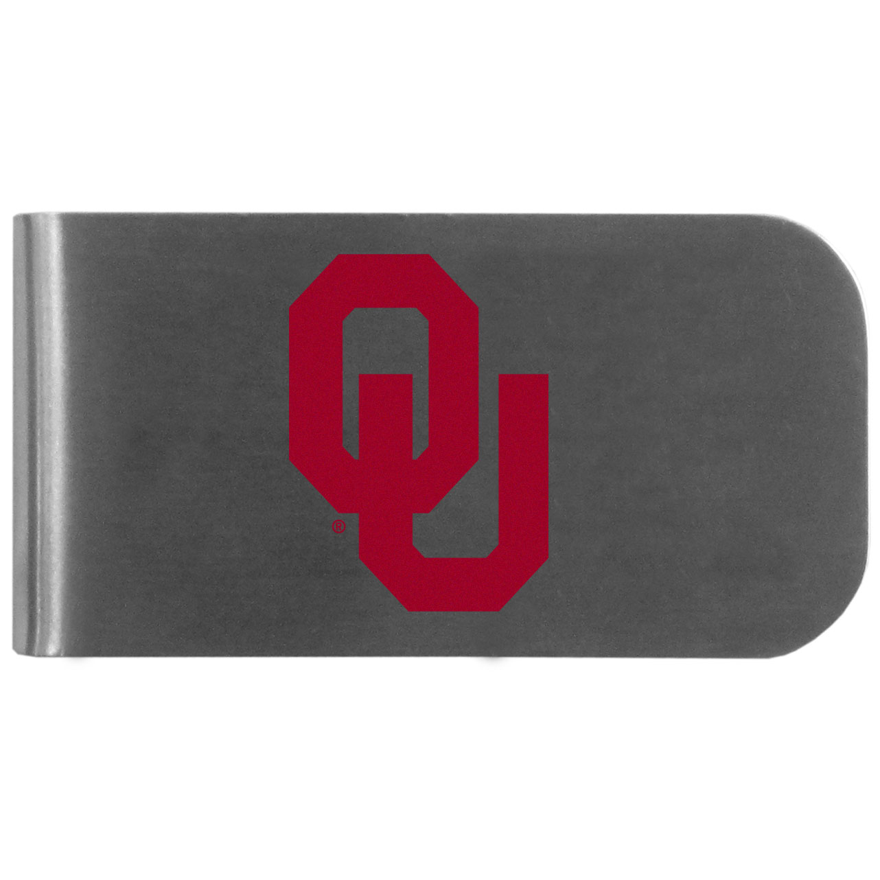 Oklahoma Sooners Logo Bottle Opener Money Clip - This unique money clip features a classic, brushed-metal finish with a handy bottle opener feature on the back. The clip has the Oklahoma Sooners logo expertly printed on the front of the clip.