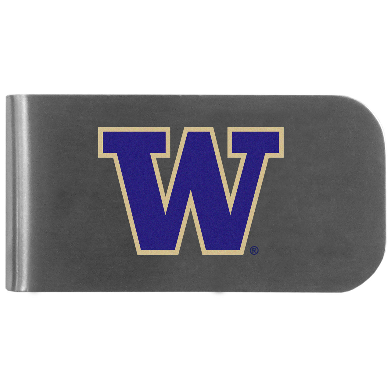 Washington Huskies Logo Bottle Opener Money Clip - This unique money clip features a classic, brushed-metal finish with a handy bottle opener feature on the back. The clip has the Washington Huskies logo expertly printed on the front of the clip.