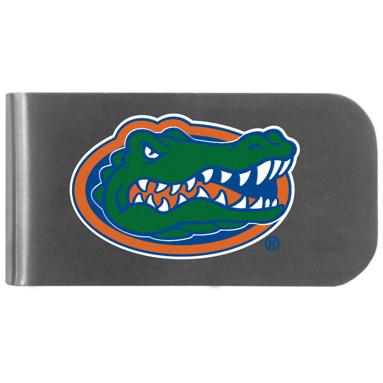 Florida Gators Logo Bottle Opener Money Clip - This unique money clip features a classic, brushed-metal finish with a handy bottle opener feature on the back. The clip has the Florida Gators logo expertly printed on the front of the clip.