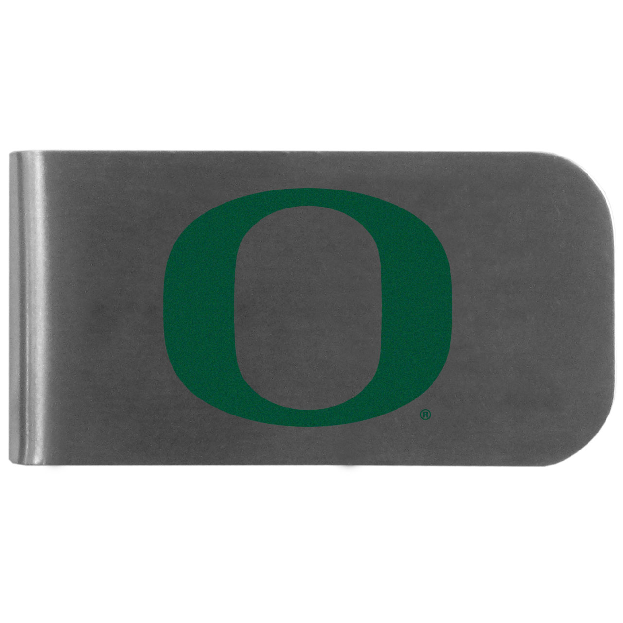 Oregon Ducks Logo Bottle Opener Money Clip - This unique money clip features a classic, brushed-metal finish with a handy bottle opener feature on the back. The clip has the Oregon Ducks logo expertly printed on the front of the clip.