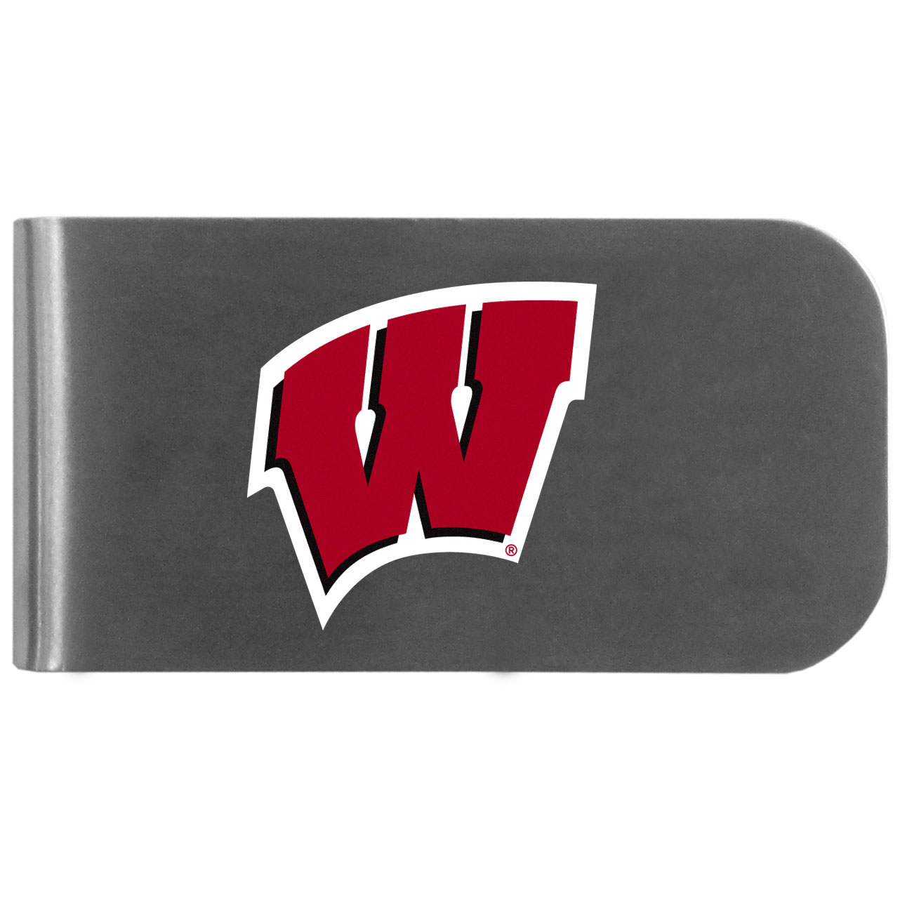 Wisconsin Badgers Logo Bottle Opener Money Clip - This unique money clip features a classic, brushed-metal finish with a handy bottle opener feature on the back. The clip has the Wisconsin Badgers logo expertly printed on the front of the clip.