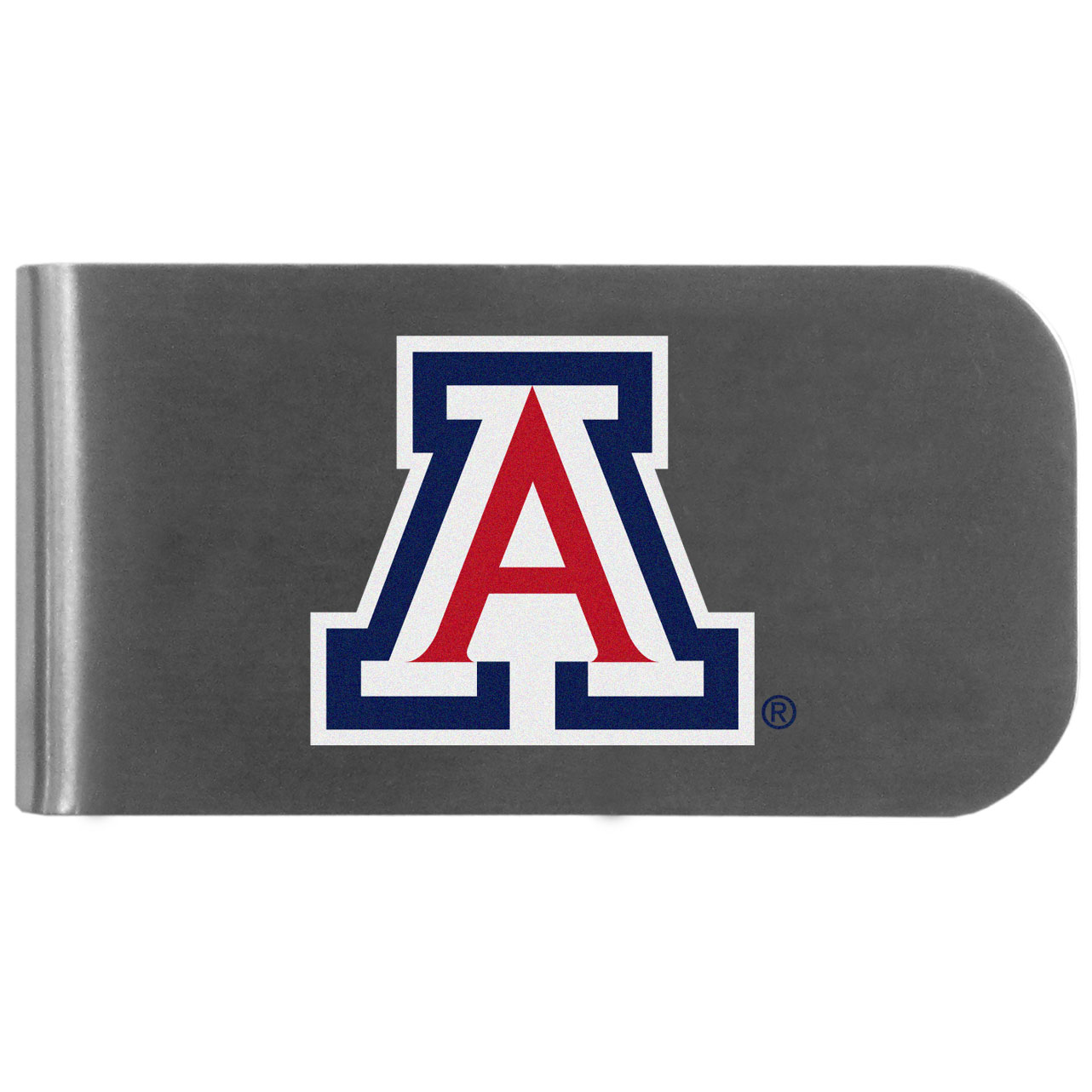 Arizona Wildcats Logo Bottle Opener Money Clip - This unique money clip features a classic, brushed-metal finish with a handy bottle opener feature on the back. The clip has the Arizona Wildcats logo expertly printed on the front of the clip.