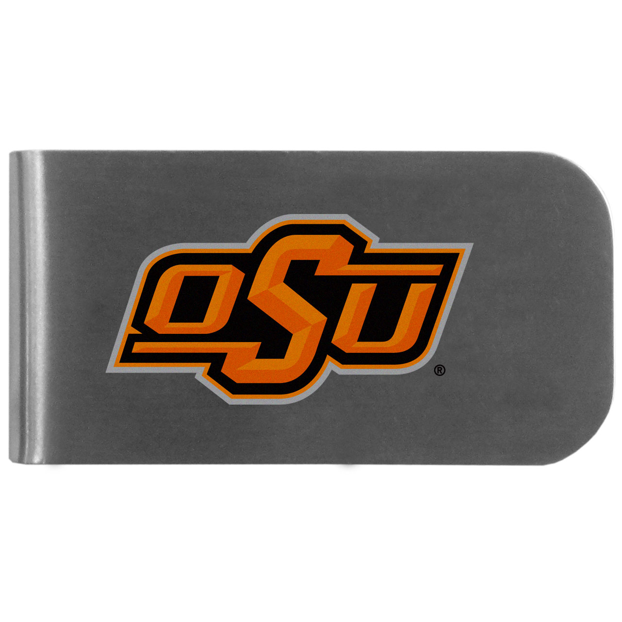 Oklahoma St. Cowboys Logo Bottle Opener Money Clip - This unique money clip features a classic, brushed-metal finish with a handy bottle opener feature on the back. The clip has the Oklahoma St. Cowboys logo expertly printed on the front of the clip.