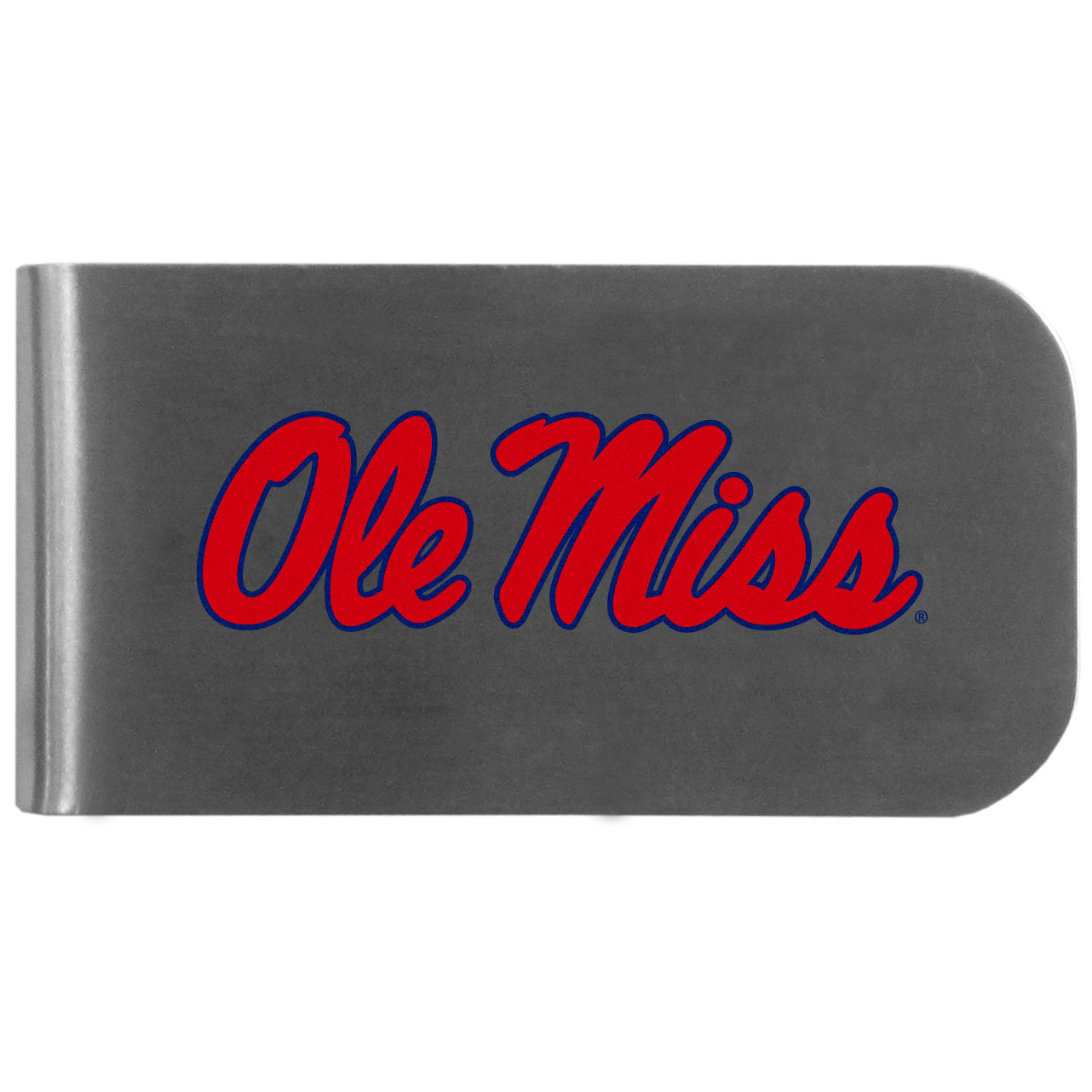 Mississippi Rebels Logo Bottle Opener Money Clip - This unique money clip features a classic, brushed-metal finish with a handy bottle opener feature on the back. The clip has the Mississippi Rebels logo expertly printed on the front of the clip.