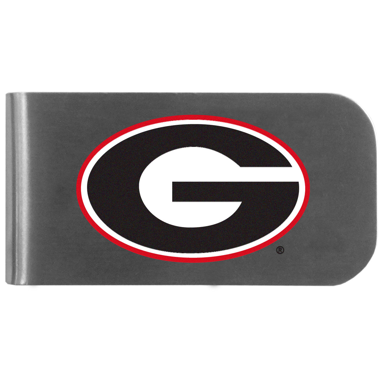 Georgia Bulldogs Logo Bottle Opener Money Clip - This unique money clip features a classic, brushed-metal finish with a handy bottle opener feature on the back. The clip has the Georgia Bulldogs logo expertly printed on the front of the clip.