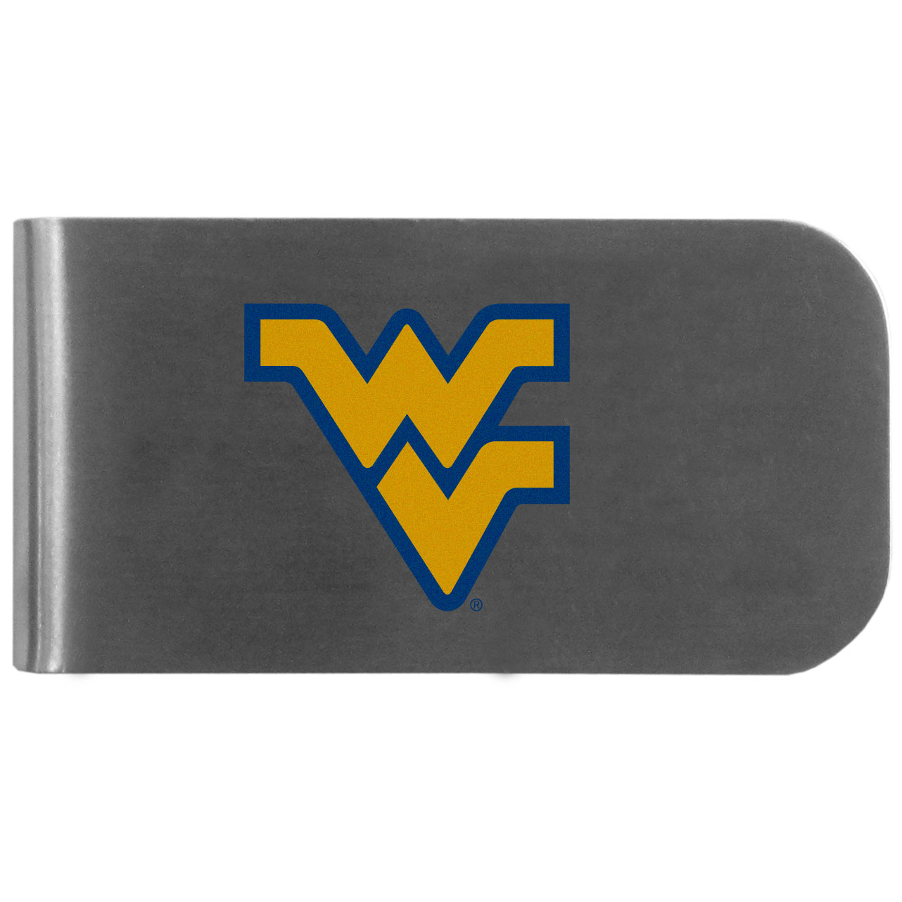 W. Virginia Mountaineers Logo Bottle Opener Money Clip - This unique money clip features a classic, brushed-metal finish with a handy bottle opener feature on the back. The clip has the W. Virginia Mountaineers logo expertly printed on the front of the clip.