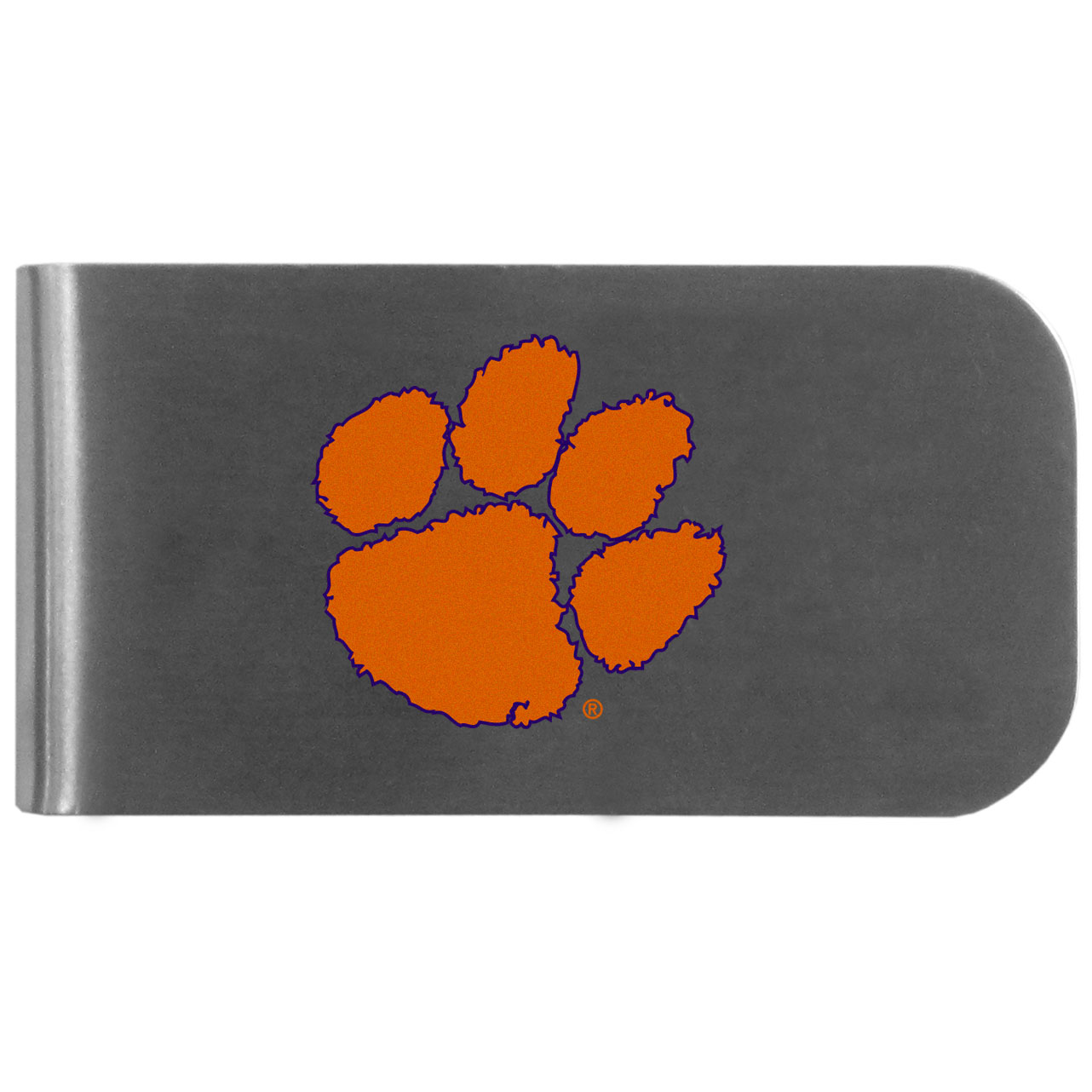 Clemson Tigers Logo Bottle Opener Money Clip - This unique money clip features a classic, brushed-metal finish with a handy bottle opener feature on the back. The clip has the Clemson Tigers logo expertly printed on the front of the clip.
