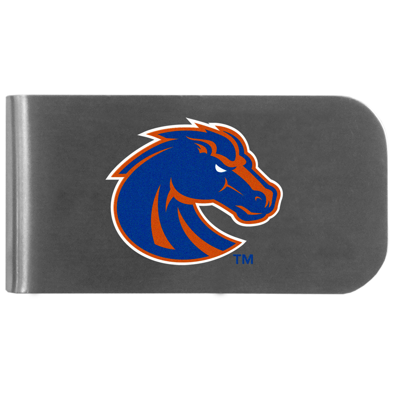 Boise St. Broncos Logo Bottle Opener Money Clip - This unique money clip features a classic, brushed-metal finish with a handy bottle opener feature on the back. The clip has the Boise St. Broncos logo expertly printed on the front of the clip.
