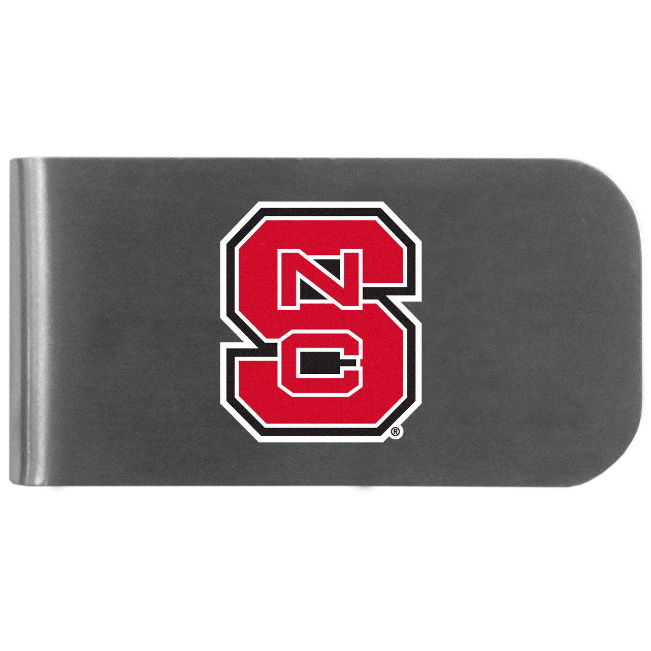 N. Carolina St. Wolfpack Logo Bottle Opener Money Clip - This unique money clip features a classic, brushed-metal finish with a handy bottle opener feature on the back. The clip has the N. Carolina St. Wolfpack logo expertly printed on the front of the clip.