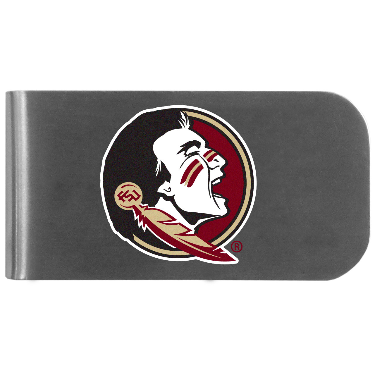 Florida St. Seminoles Logo Bottle Opener Money Clip - This unique money clip features a classic, brushed-metal finish with a handy bottle opener feature on the back. The clip has the Florida St. Seminoles logo expertly printed on the front of the clip.