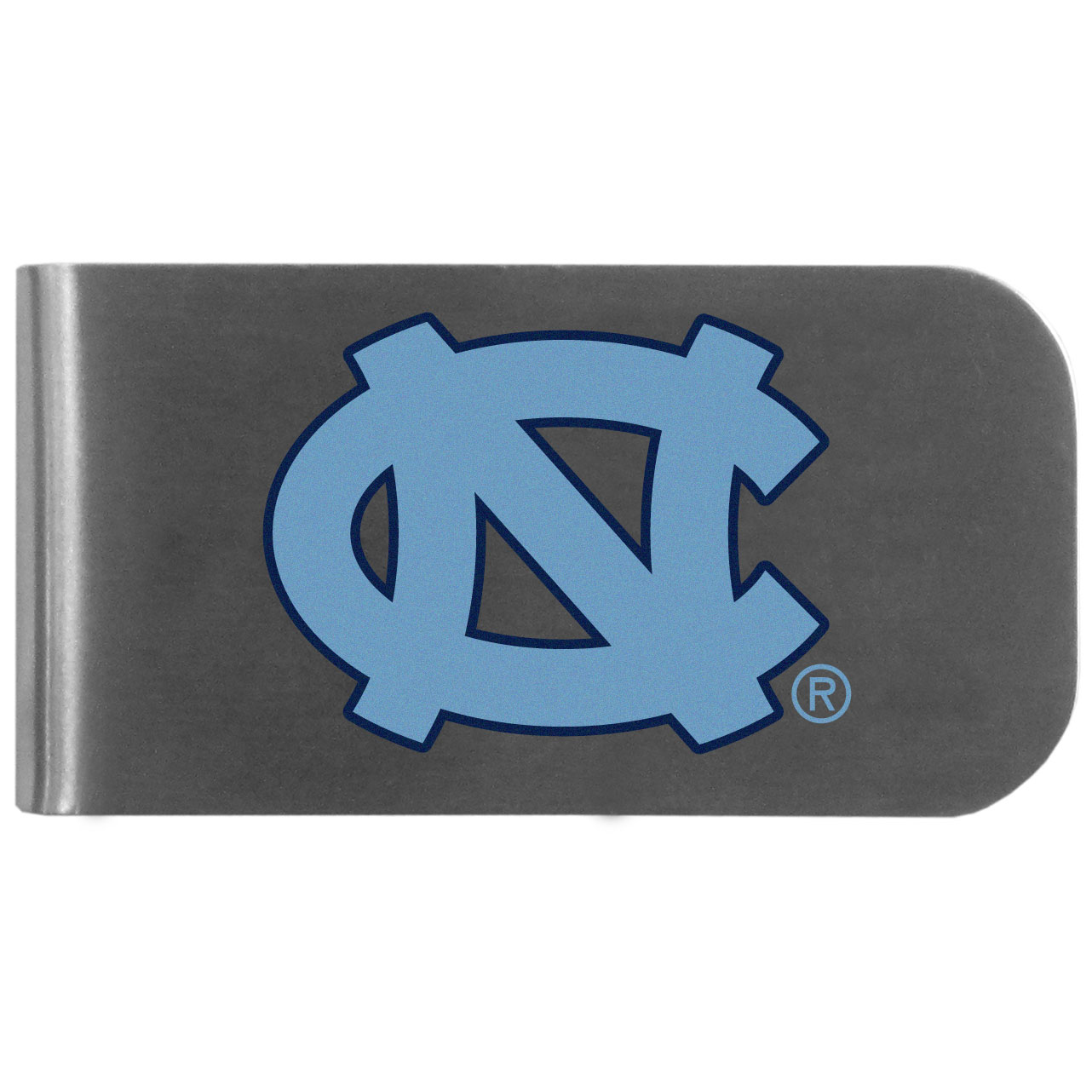 N. Carolina Tar Heels Logo Bottle Opener Money Clip - This unique money clip features a classic, brushed-metal finish with a handy bottle opener feature on the back. The clip has the N. Carolina Tar Heels logo expertly printed on the front of the clip.