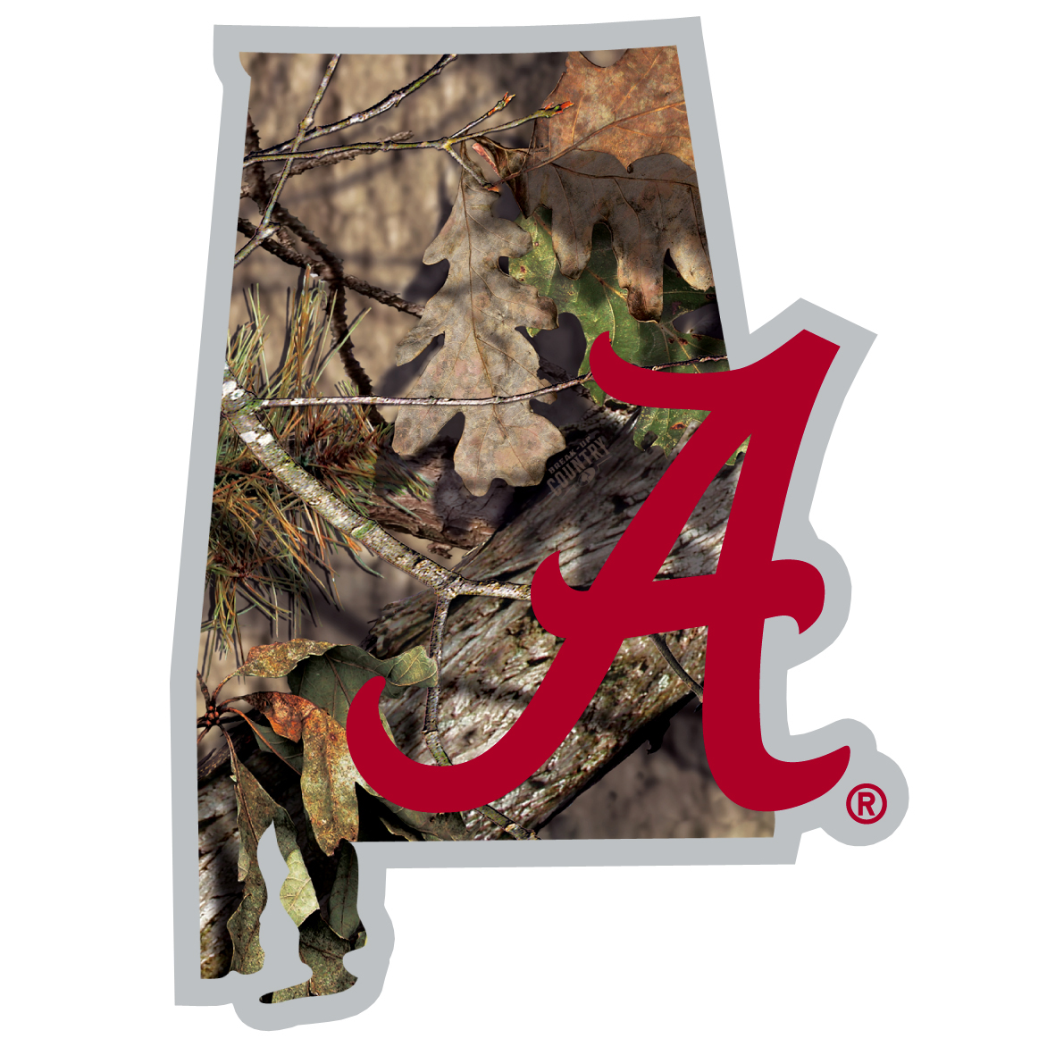 Alabama Crimson Tide State Decal w/Mossy Oak Camo - It's a home state decal with a sporty twist! This Alabama Crimson Tide decal features the team logo over a silhouette of the state in team colors and Mossy Oak camo and a helmet marking the home of the team. The decal is approximately 5 inches on repositionable vinyl.