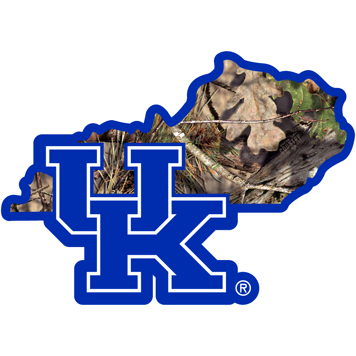 Kentucky Wildcats State Decal w/Mossy Oak Camo - It's a home state decal with a sporty twist! This Kentucky Wildcats decal features the team logo over a silhouette of the state in team colors and Mossy Oak camo and a helmet marking the home of the team. The decal is approximately 5 inches on repositionable vinyl.