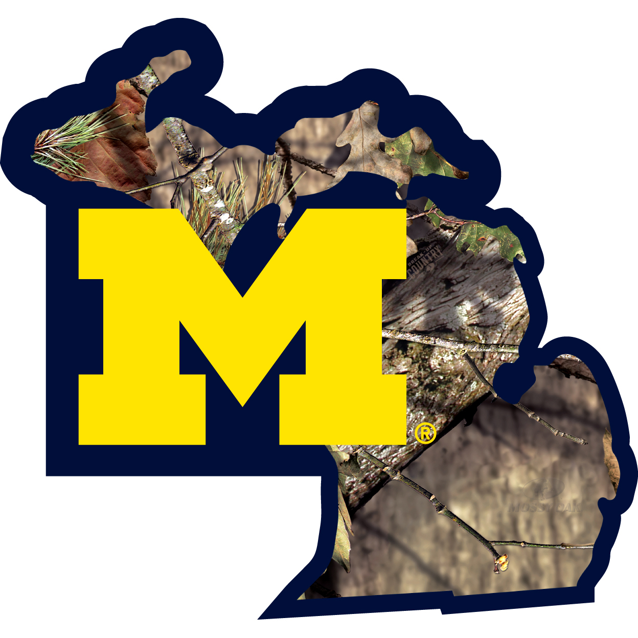 Michigan Wolverines State Decal w/Mossy Oak Camo - It's a home state decal with a sporty twist! This Michigan Wolverines decal features the team logo over a silhouette of the state in team colors and Mossy Oak camo and a helmet marking the home of the team. The decal is approximately 5 inches on repositionable vinyl.