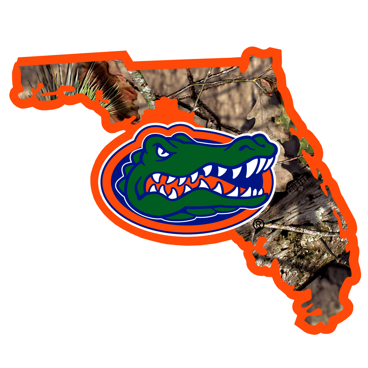 Florida Gators State Decal w/Mossy Oak Camo - It's a home state decal with a sporty twist! This Florida Gators decal features the team logo over a silhouette of the state in team colors and Mossy Oak camo and a helmet marking the home of the team. The decal is approximately 5 inches on repositionable vinyl.