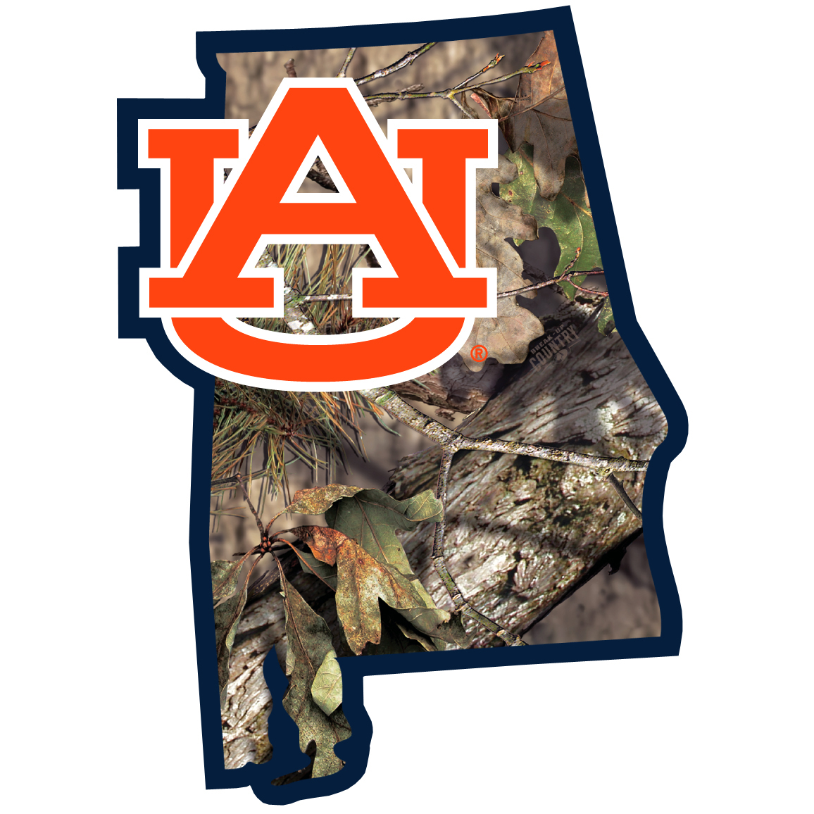 Auburn Tigers State Decal w/Mossy Oak Camo - It's a home state decal with a sporty twist! This Auburn Tigers decal features the team logo over a silhouette of the state in team colors and Mossy Oak camo and a helmet marking the home of the team. The decal is approximately 5 inches on repositionable vinyl.