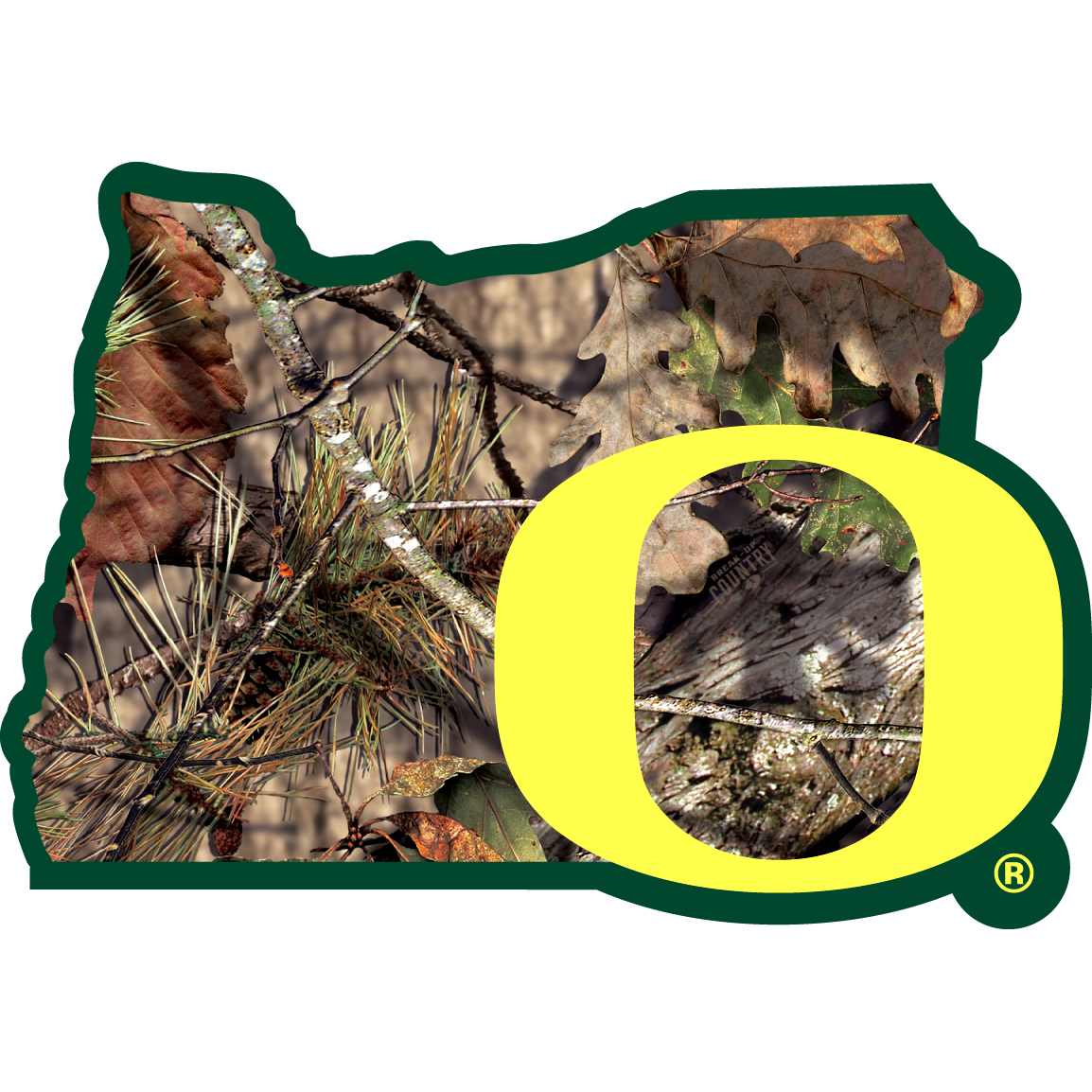 Oregon Ducks State Decal w/Mossy Oak Camo - It's a home state decal with a sporty twist! This Oregon Ducks decal features the team logo over a silhouette of the state in team colors and Mossy Oak camo and a helmet marking the home of the team. The decal is approximately 5 inches on repositionable vinyl.