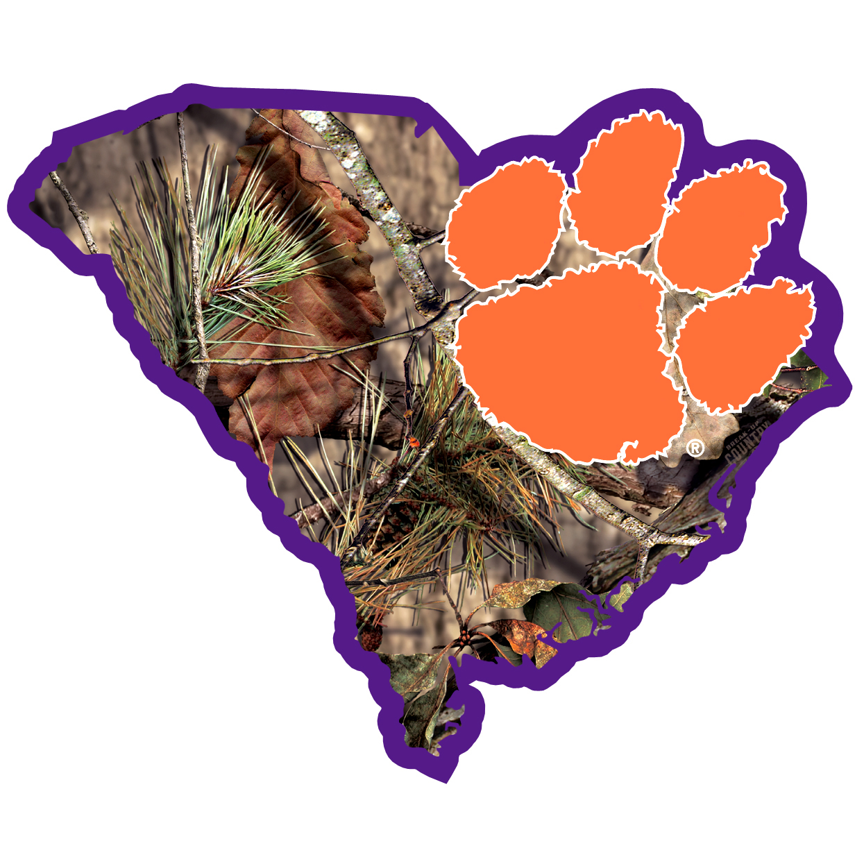 Clemson Tigers State Decal w/Mossy Oak Camo - It's a home state decal with a sporty twist! This Clemson Tigers decal features the team logo over a silhouette of the state in team colors and Mossy Oak camo and a helmet marking the home of the team. The decal is approximately 5 inches on repositionable vinyl.
