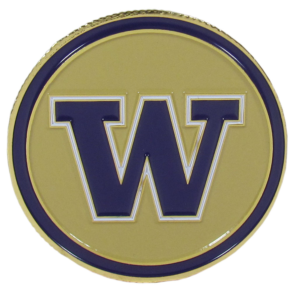 Washington Huskies Golf Ball Marker, Logo - Our golf ball marker coin is 1.75 inches and is made of fully cast metal with expertly enameled team colors. The Washington Huskies logo on the front and the back has a removable ball marker that is held in place with magnets that also features the team logo.