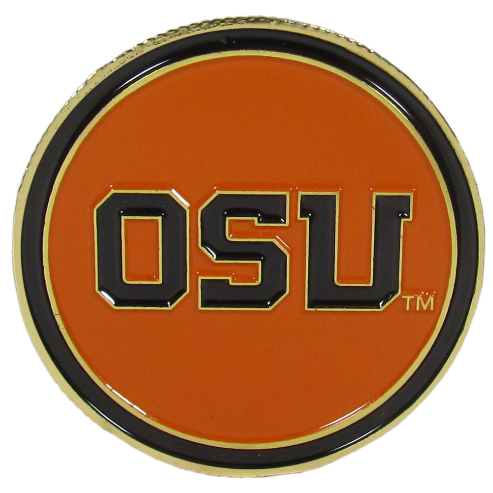 Oregon St. Beavers Golf Ball Marker, Logo - Our golf ball marker coin is 1.75 inches and is made of fully cast metal with expertly enameled team colors. The Oregon St. Beavers logo on the front and the back has a removable ball marker that is held in place with magnets that also features the team logo.