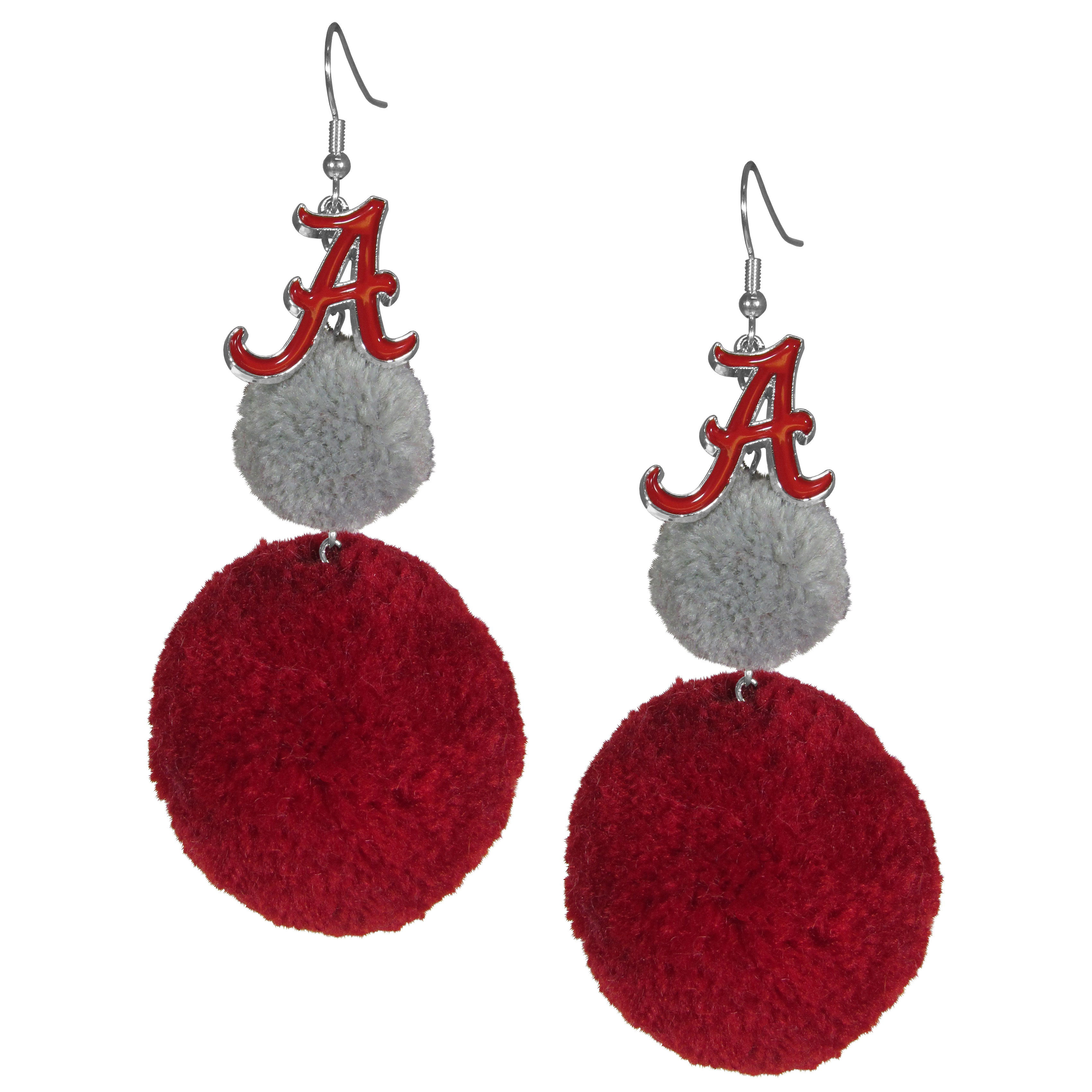 Alabama Crimson Tide Pom Pom Earrings - These fun and bold earrings are a game day must! The earrings feature a metal Alabama Crimson Tide charm with enameled color details that hangs above to colorful pom pom charms. The largest pom is 1.5 inches round for, the earrings hang at 3.5 inches long. The fishhook posts are nickel free and hypoallergenic.