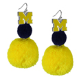 Michigan Wolverines Pom Pom Earrings