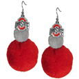 Ohio St. Buckeyes Pom Pom Earrings