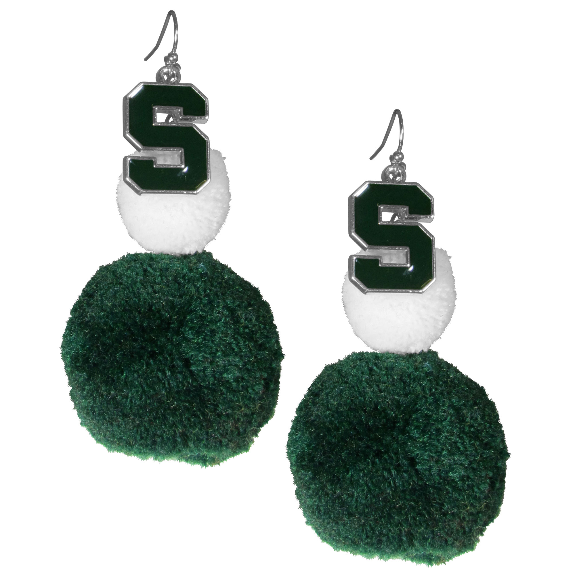 Michigan St. Spartans Pom Pom Earrings - These fun and bold earrings are a game day must! The earrings feature a metal Michigan St. Spartans charm with enameled color details that hangs above to colorful pom pom charms. The largest pom is 1.5 inches round for, the earrings hang at 3.5 inches long. The fishhook posts are nickel free and hypoallergenic.