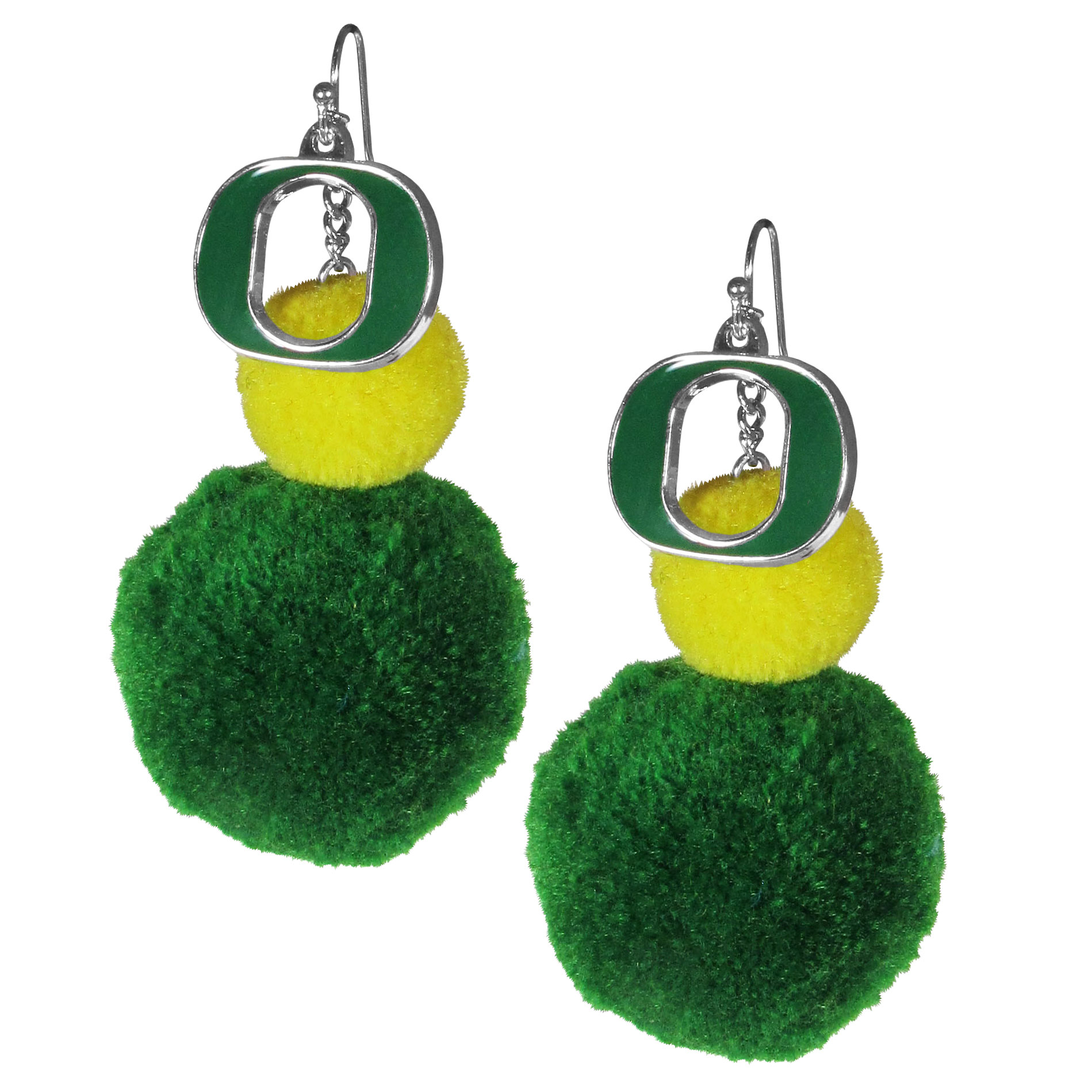 Oregon Ducks Pom Pom Earrings - These fun and bold earrings are a game day must! The earrings feature a metal Oregon Ducks charm with enameled color details that hangs above to colorful pom pom charms. The largest pom is 1.5 inches round for, the earrings hang at 3.5 inches long. The fishhook posts are nickel free and hypoallergenic.