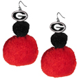 Georgia Bulldogs Pom Pom Earrings