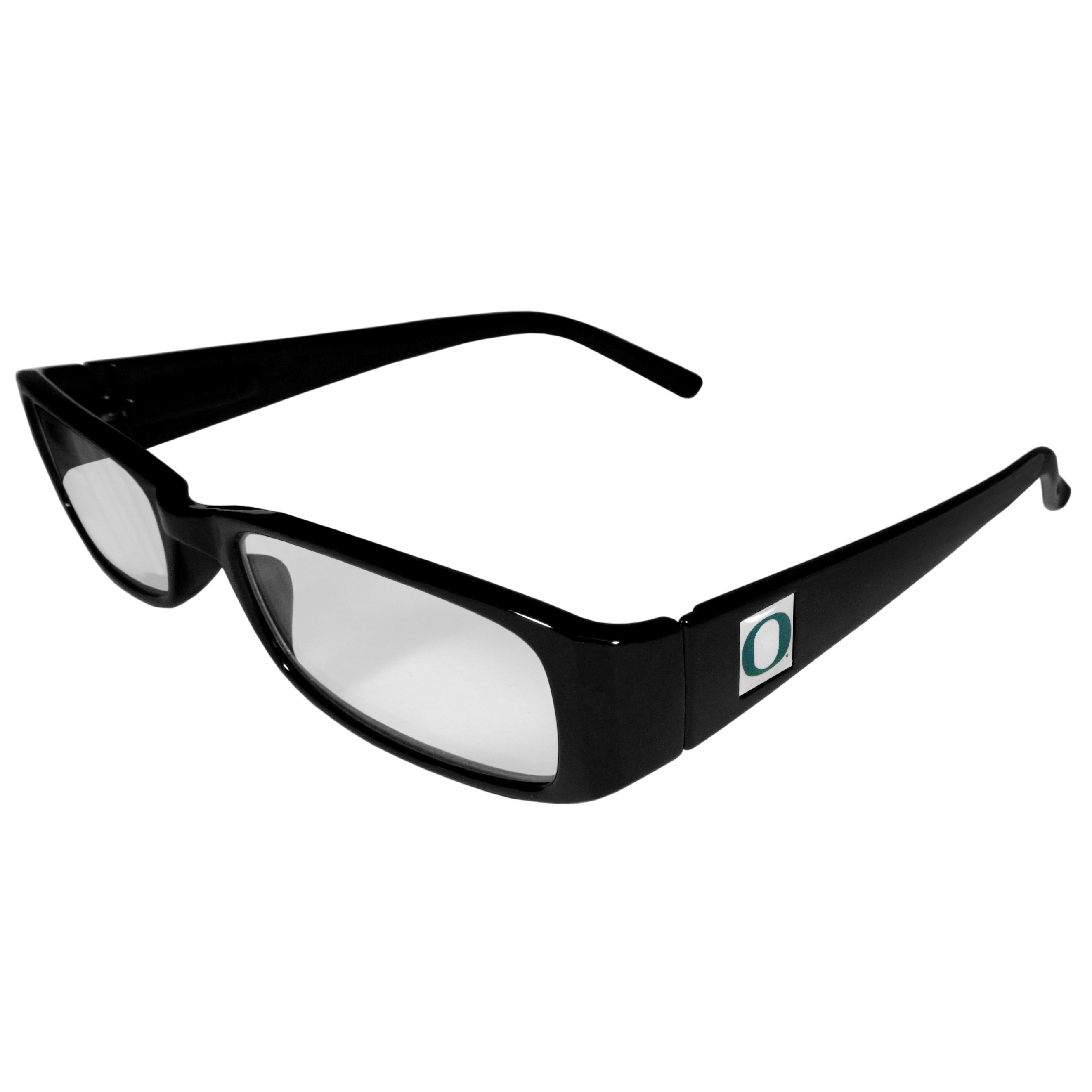 Oregon Ducks Black Reading Glasses +1.25 - Our Oregon Ducks reading glasses are 5.25 inches wide and feature the team logo on each arm. Magnification Power 1.25