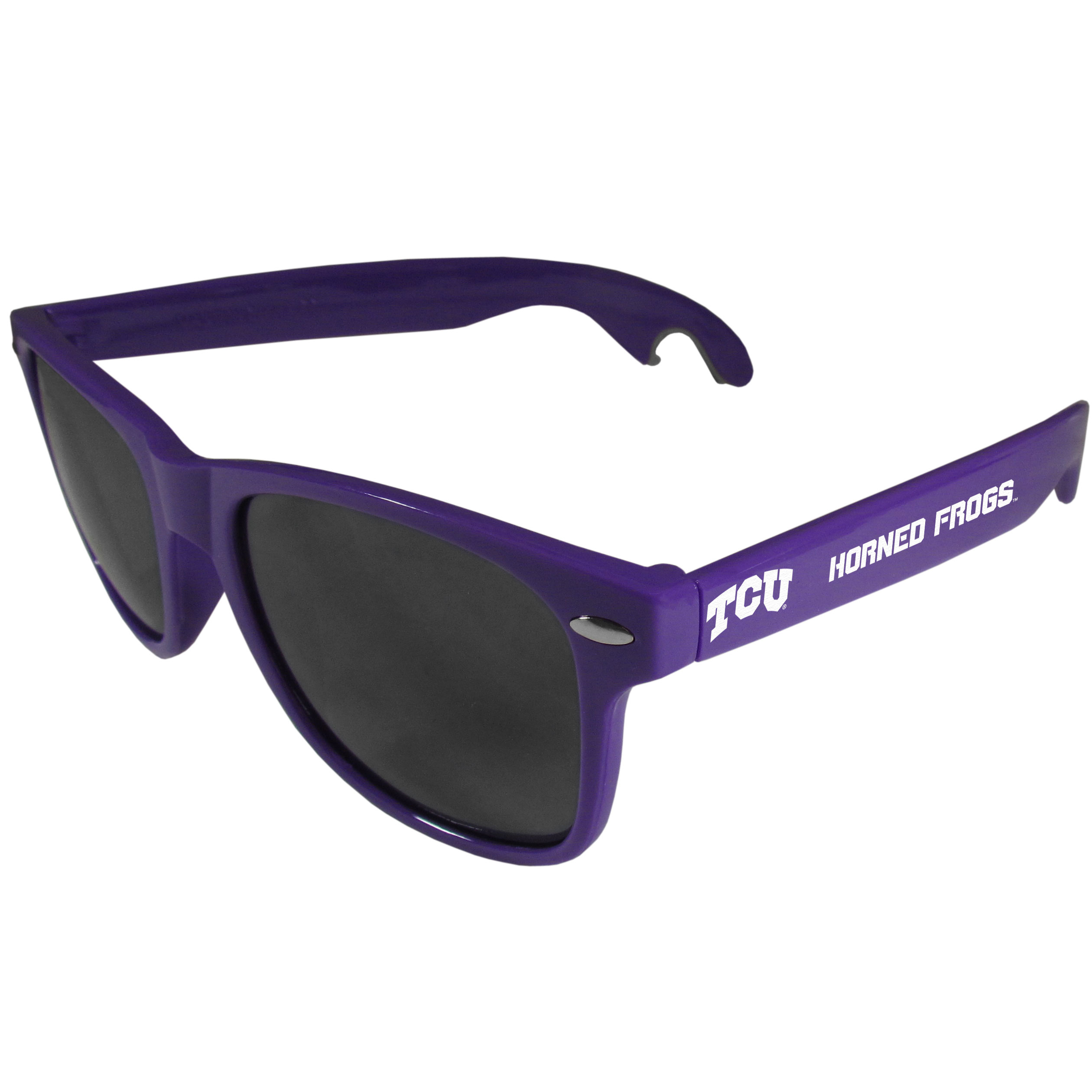 TCU Horned Frogs Beachfarer Bottle Opener Sunglasses, Purple - Seriously, these sunglasses open bottles! Keep the party going with these amazing TCU Horned Frogs bottle opener sunglasses. The stylish retro frames feature team designs on the arms and functional bottle openers on the end of the arms. Whether you are at the beach or having a backyard BBQ on game day, these shades will keep your eyes protected with 100% UVA/UVB protection and keep you hydrated with the handy bottle opener arms.
