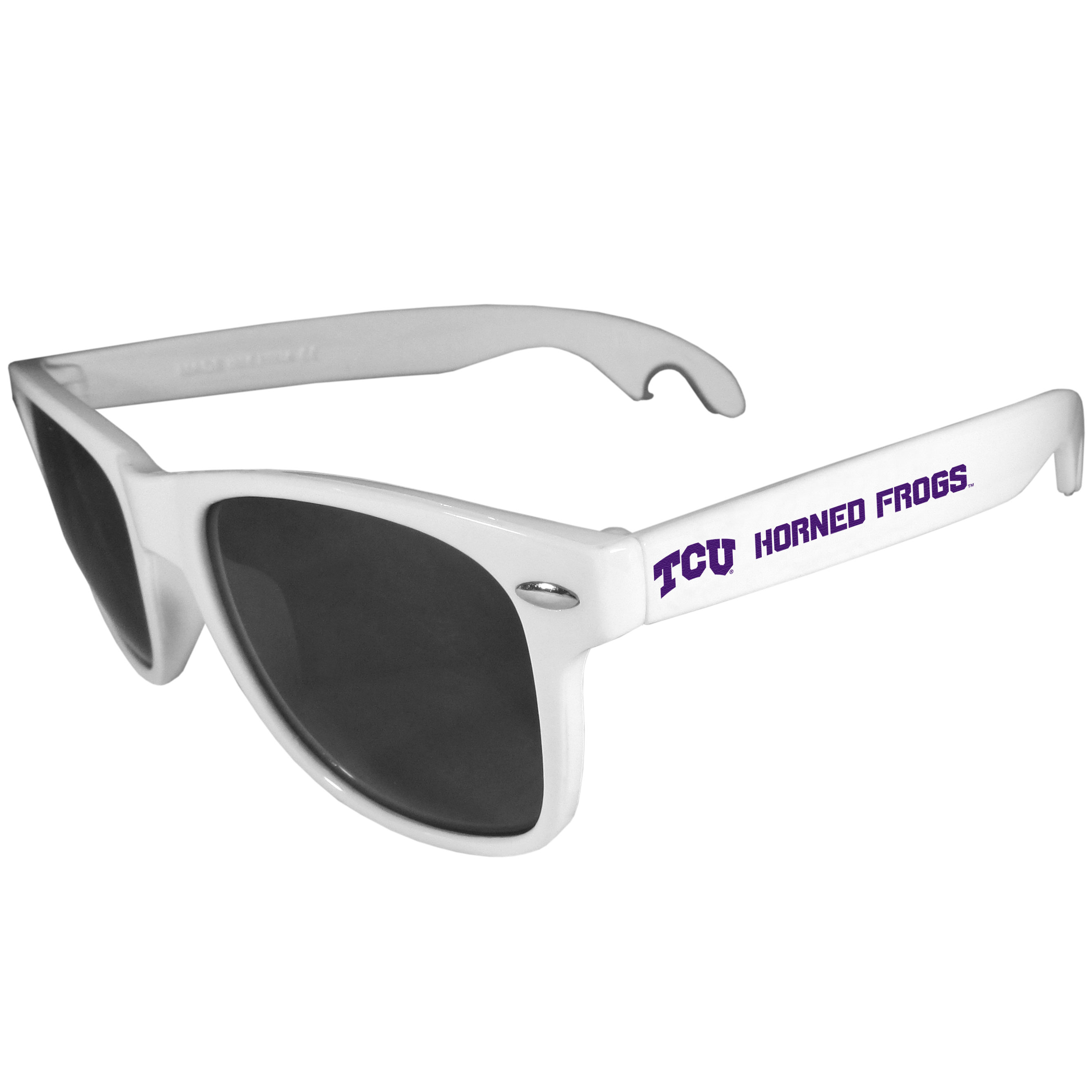 TCU Horned Frogs Beachfarer Bottle Opener Sunglasses, White - Seriously, these sunglasses open bottles! Keep the party going with these amazing TCU Horned Frogs bottle opener sunglasses. The stylish retro frames feature team designs on the arms and functional bottle openers on the end of the arms. Whether you are at the beach or having a backyard BBQ on game day, these shades will keep your eyes protected with 100% UVA/UVB protection and keep you hydrated with the handy bottle opener arms.